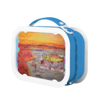 rainbow trout art lunch box