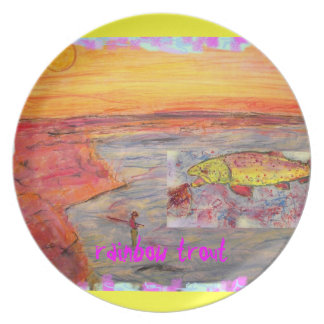 rainbow trout art melamine plate