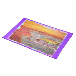 rainbow trout art cloth placemat
