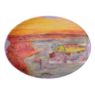 rainbow trout art porcelain serving platter
