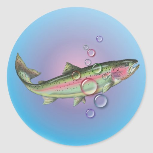 RAINBOW TROUT BUBBLE by SHARON SHARPE Classic Round Sticker
