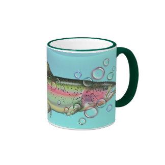 RAINBOW TROUT & BUBBLES by SHARON SHARPE Ringer Coffee Mug