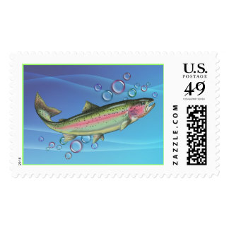 RAINBOW TROUT & BUBBLES by SHARON SHARPE Postage