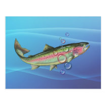 RAINBOW TROUT BUBBLES by SHARON SHARPE Postcard