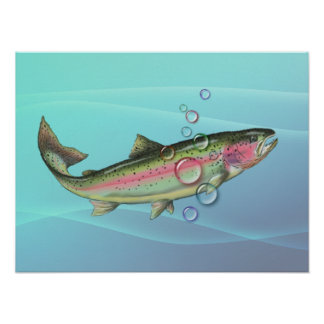 RAINBOW TROUT BUBBLES by SHARON SHARPE Poster