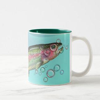 RAINBOW TROUT & BUBBLES by SHARON SHARPE Two-Tone Coffee Mug