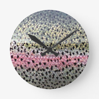 Rainbow Trout by PatternWear© Round Clock