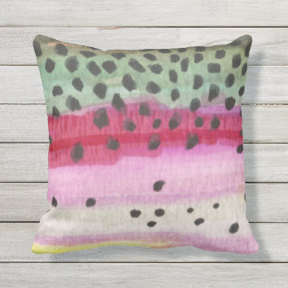 Rainbow Trout Decorating Outdoor Pillow