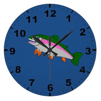 Rainbow trout design wrist watches large clock