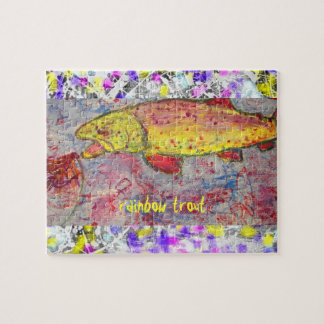 rainbow trout drip painting art puzzle