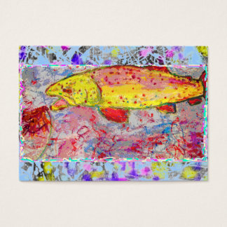 rainbow trout drip painting business card