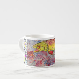 rainbow trout drip painting espresso cup