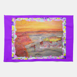 rainbow trout drip painting towel
