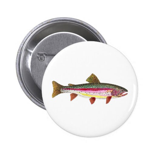 Rainbow Trout Fish Pinback Buttons
