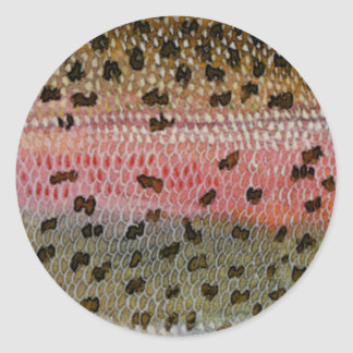 Rainbow Trout Fish Skin Print Classic Round Sticker