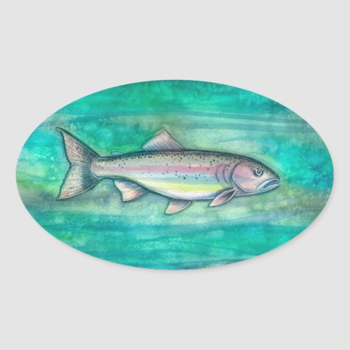 Rainbow Trout Fish Watercolor Art Stickers