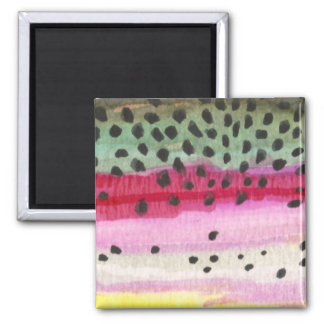 Rainbow Trout Fishing 2 Inch Square Magnet