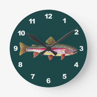 Rainbow Trout Fishing Round Wallclocks