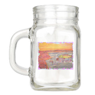 rainbow trout fishing mason jar