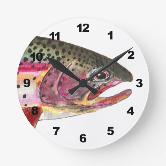 Rainbow Trout Fishing Round Clock