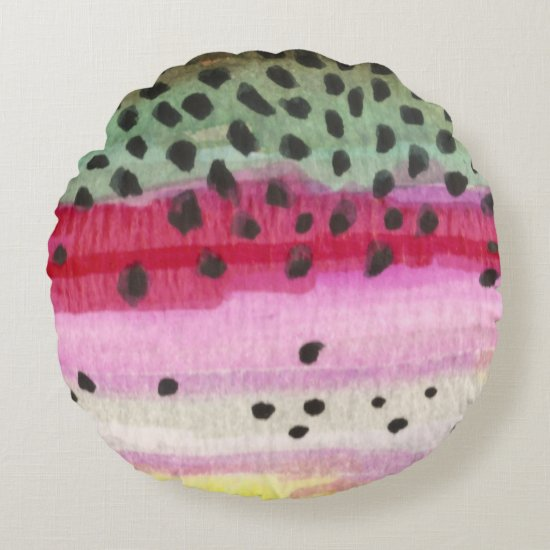 Rainbow Trout Fishing Round Pillow