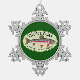 Rainbow Trout Fishing Snowflake Pewter Christmas Ornament