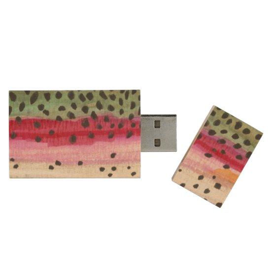 Rainbow Trout Fishing Wood USB Flash Drive