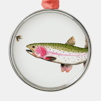 Rainbow Trout Fly Fishing Metal Ornament