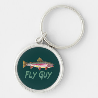 Rainbow Trout Fly Fishing Silver-Colored Round Keychain