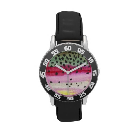 rainbow trout fly fishing watches zazzle
