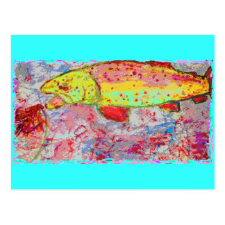 Rainbow Trout happy fishing Postcard