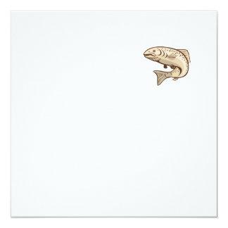 Rainbow Trout Jumping Cartoon 5.25x5.25 Square Paper Invitation Card