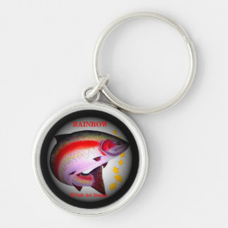 Rainbow trout < Rainbow trout >!  JAPAN ART HOKKAI Silver-Colored Round Keychain