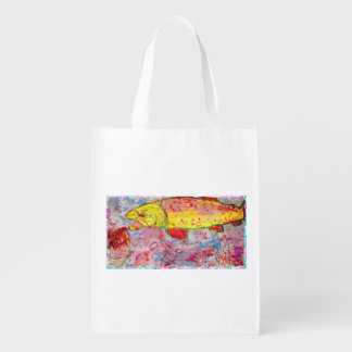 rainbow trout reusable grocery bag