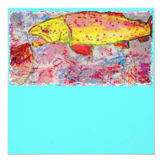 rainbow trout screenprint look 5.25x5.25 square paper invitation card