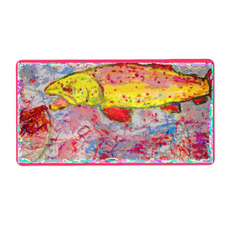 rainbow trout screenprint look shipping label