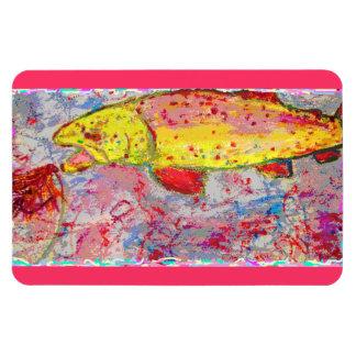 rainbow trout screenprint look rectangular photo magnet