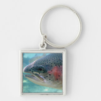 Rainbow Trout Silver-Colored Square Keychain