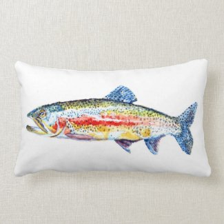 Rainbow Trout Throw Pillow
