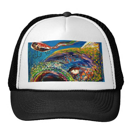 Rainbow trout tracking a fishing lure mesh hats zazzle for Trout fishing hats