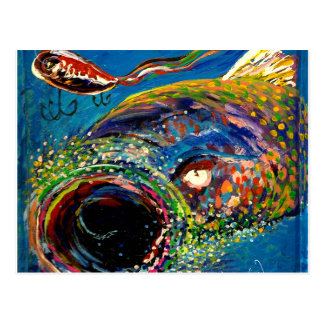 Rainbow Trout Tracking a Fishing Lure Postcard