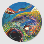 Rainbow Trout Tracking a Fishing Lure Round Stickers