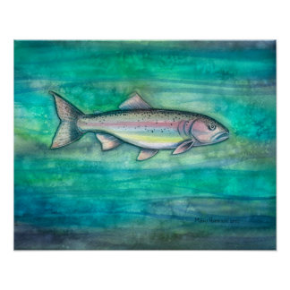 Rainbow Trout Watercolor Print by Molly Harrison