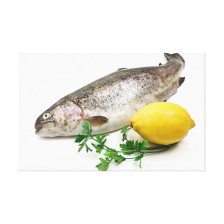 rainbow trout with lemon and parsley canvas print