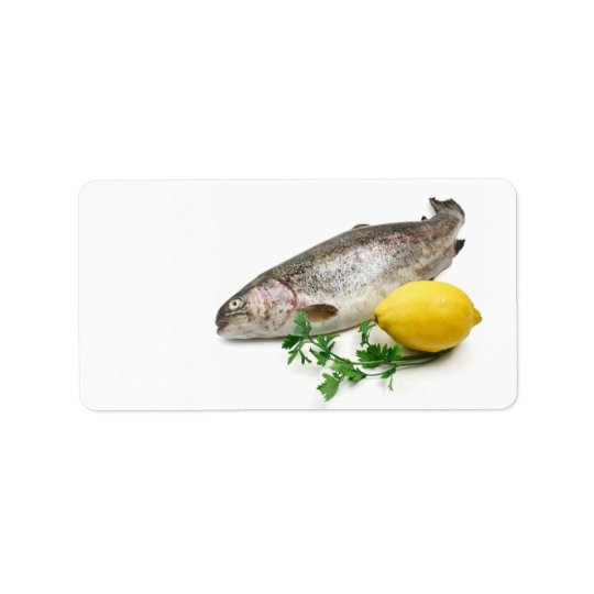 rainbow trout with lemon and parsley label