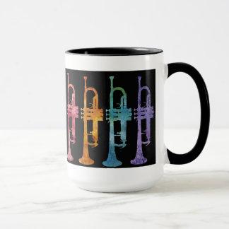 Rainbow Trumpets on black Mug