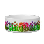 Rainbow Tulip Garden Pet Bowl Cat Food Bowl