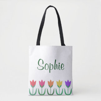 Rainbow Tulip Pattern Colorful Spring Tulips Row Tote Bag