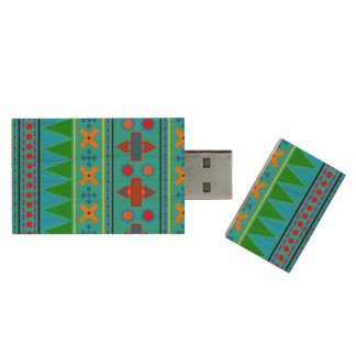 Rainbow turquoise aztec tribal pattern wood USB 2.0 flash drive