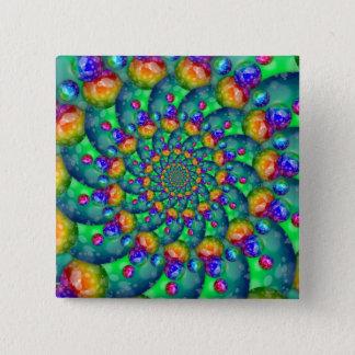 Rainbow Turquoise Bokeh Fractal Button